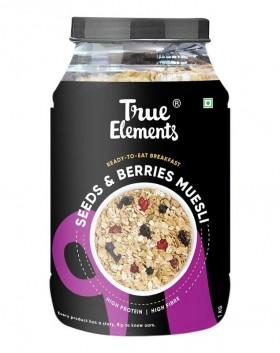 True Elements Muesli Seeds and Berries 1kg - Protein Rich, Breakfast Cereal, Healthy Food, Berries Muesli 1kg