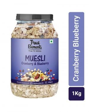 True Elements Cranberry and Blueberry Muesli Jar, 1 kg