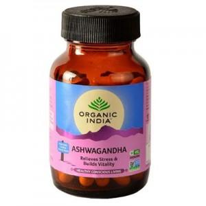 Organic India Ashwagandha 60 Capsules Bottle