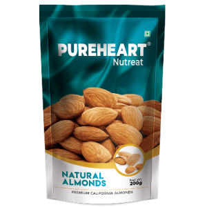 Pureheart Natural Almonds 200gm Pouch