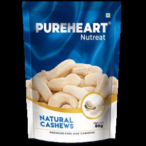 pureheart Natural Cashews 80gm Pouch