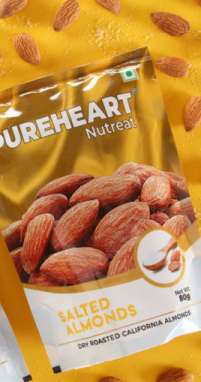 Pureheart Salted Almonds 80gm Pouch